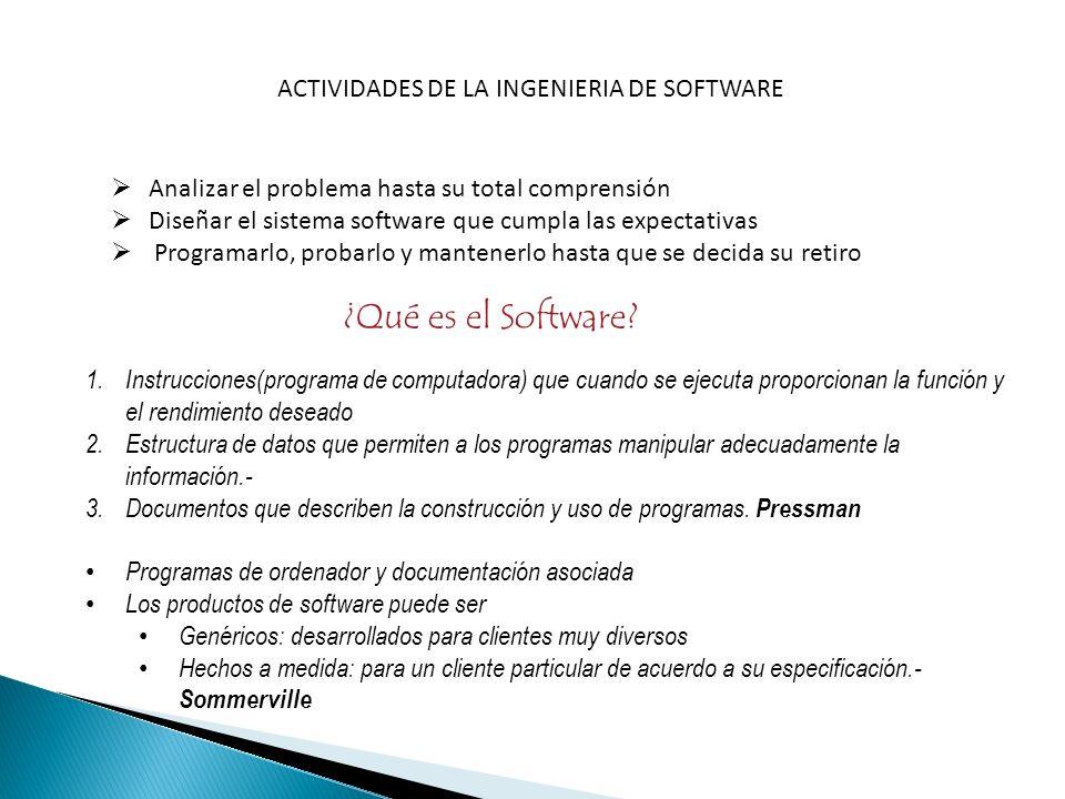 ACTIVIDADES DE LA INGENIERIA DE SOFTWARE Analizar el problema hasta su total comprensión Diseñar el sistema software que cumpla las expectativas Progr