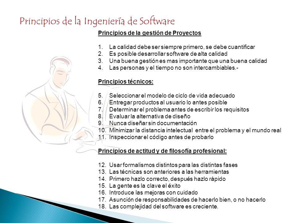 Principios de la Ingeniería de Software Principios de la gestión de Proyectos 1.La calidad debe ser siempre primero, se debe cuantificar 2.Es posible