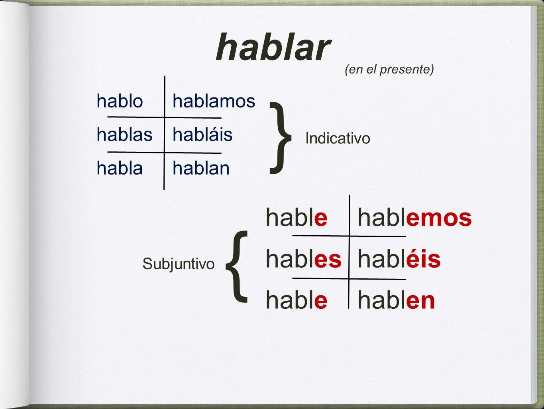 hablo hablas habla hablamos habláis hablan hable hables hable hablemos habléis hablen hablar (en el presente) Subjuntivo { Indicativo {