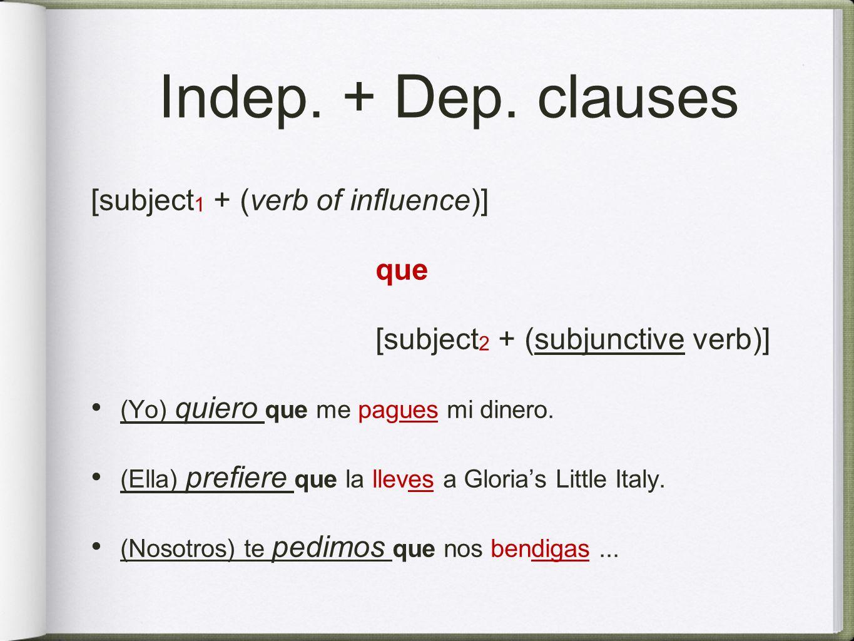 Indep. + Dep. clauses [subject 1 + (verb of influence)] que [subject 2 + (subjunctive verb)] (Yo) quiero que me pagues mi dinero. (Ella) prefiere que