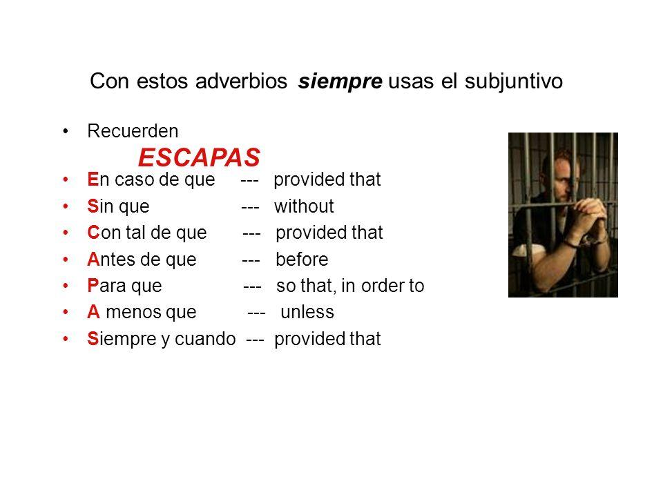 Con estos adverbios siempre usas el subjuntivo Recuerden En caso de que --- provided that Sin que --- without Con tal de que --- provided that Antes d