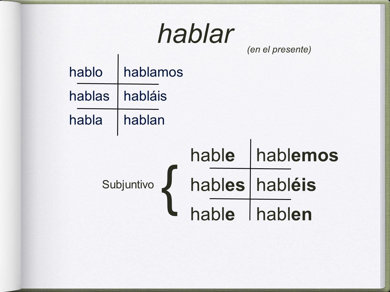 hablo hablas habla hablamos habláis hablan hable hables hable hablemos habléis hablen hablar Subjuntivo { (en el presente)
