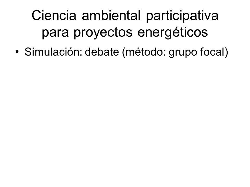 Ciencia ambiental participativa para proyectos energéticos Simulación: debate (método: grupo focal)