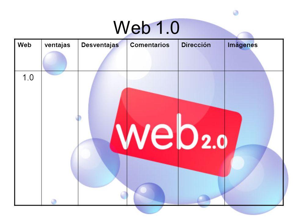 Web 1.0 WebventajasDesventajasComentariosDirecciónImágenes 1.0