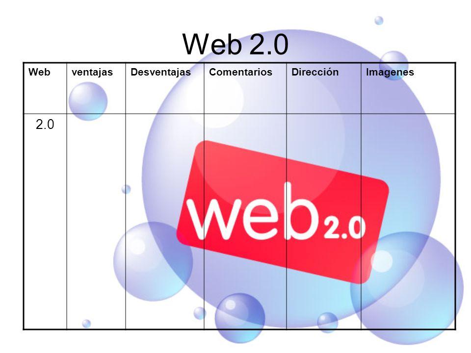 Web 2.0 WebventajasDesventajasComentariosDirecciónImagenes 2.0