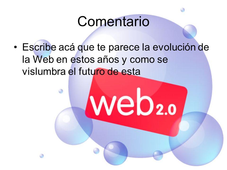 Comentario Escribe acá que te parece la evolución de la Web en estos años y como se vislumbra el futuro de esta