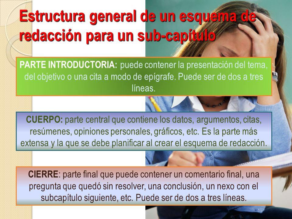 Estructura general de un esquema de redacción para un sub-capítulo PARTE INTRODUCTORIA: puede contener la presentación del tema, del objetivo o una ci