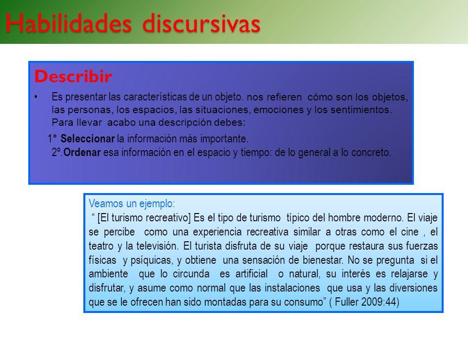 Habilidades discursivas Describir Es presentar las características de un objeto. nos refieren cómo son los objetos, las personas, los espacios, las si
