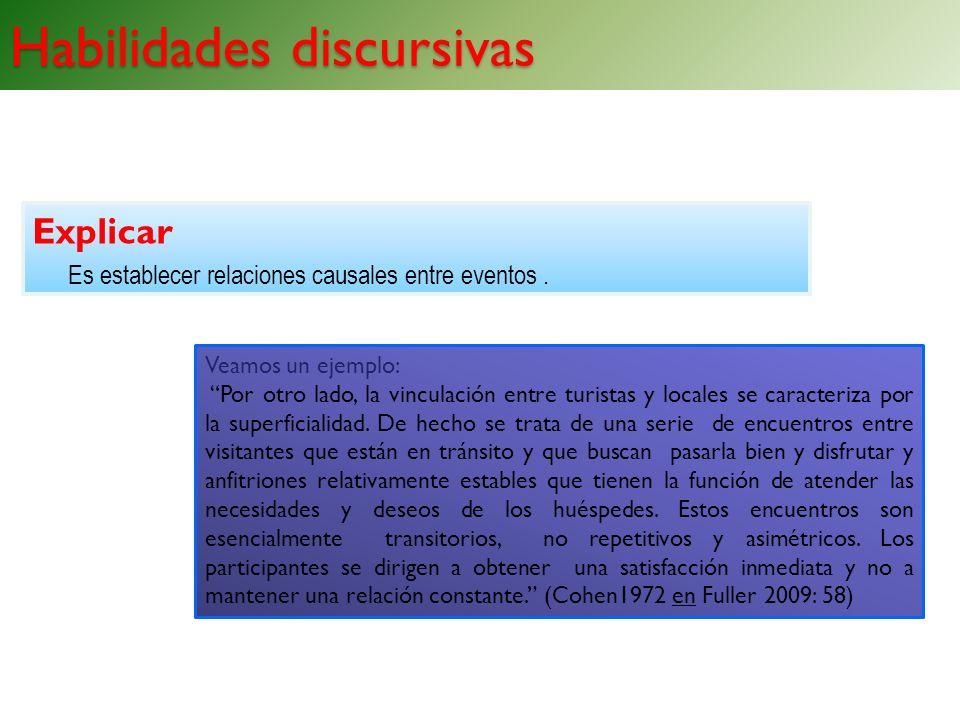 Habilidades discursivas Explicar Es establecer relaciones causales entre eventos. Habilidades discursivas Veamos un ejemplo: Por otro lado, la vincula