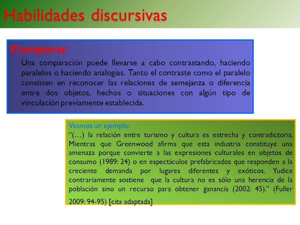 Habilidades discursivas Comparar Una comparación puede llevarse a cabo contrastando, haciendo paralelos o haciendo analogías. Tanto el contraste como