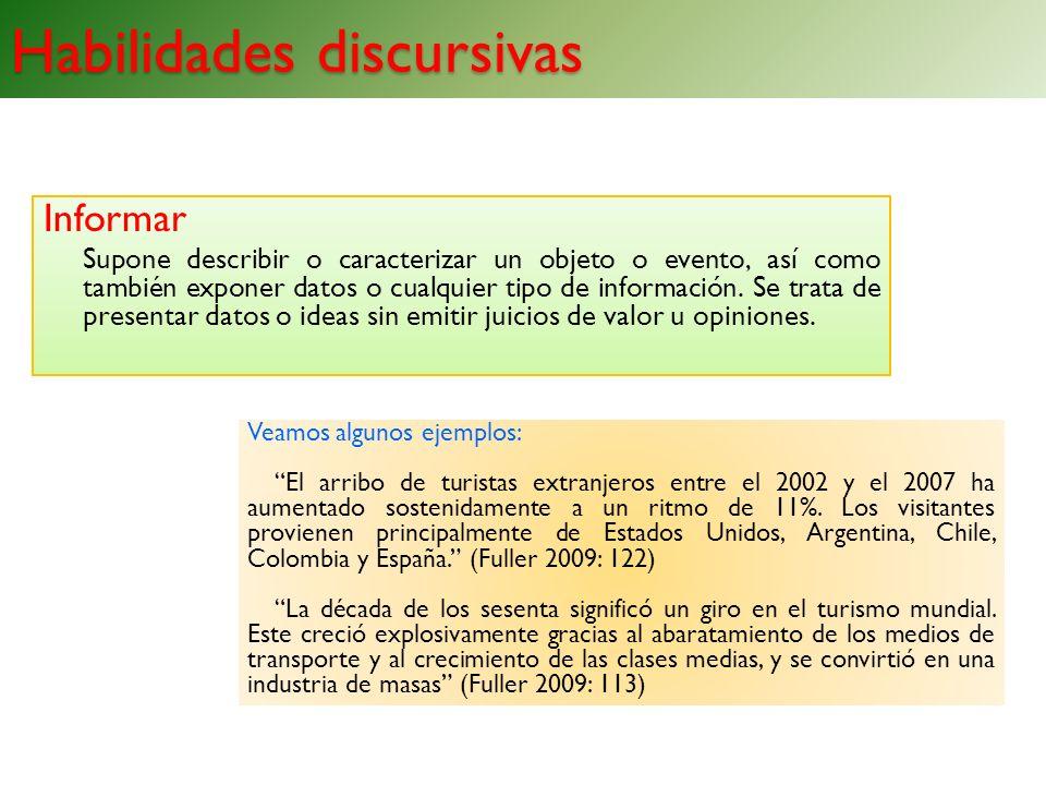Habilidades discursivas Informar Supone describir o caracterizar un objeto o evento, así como también exponer datos o cualquier tipo de información. S
