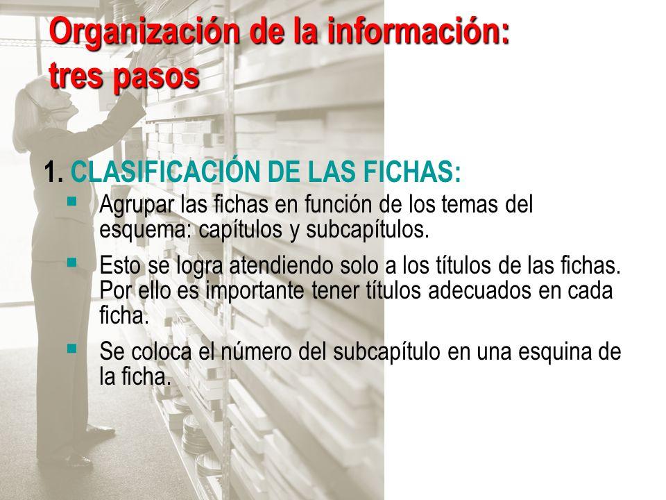 Organización de la información: tres pasos 1. CLASIFICACIÓN DE LAS FICHAS: Agrupar las fichas en función de los temas del esquema: capítulos y subcapí