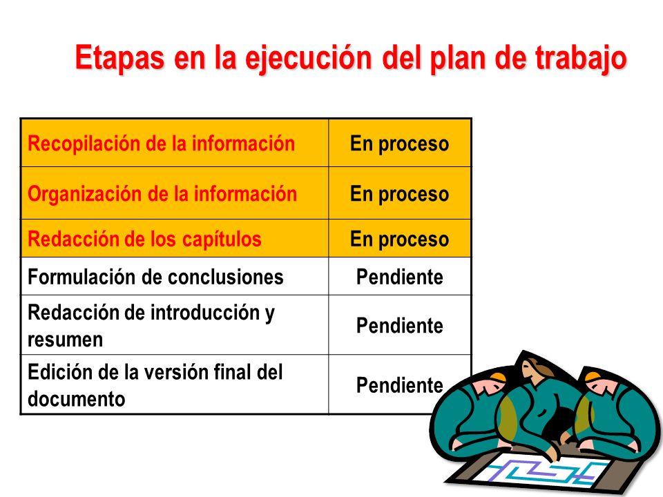 Etapas en la ejecución del plan de trabajo Etapas en la ejecución del plan de trabajo Recopilación de la informaciónEn proceso Organización de la info