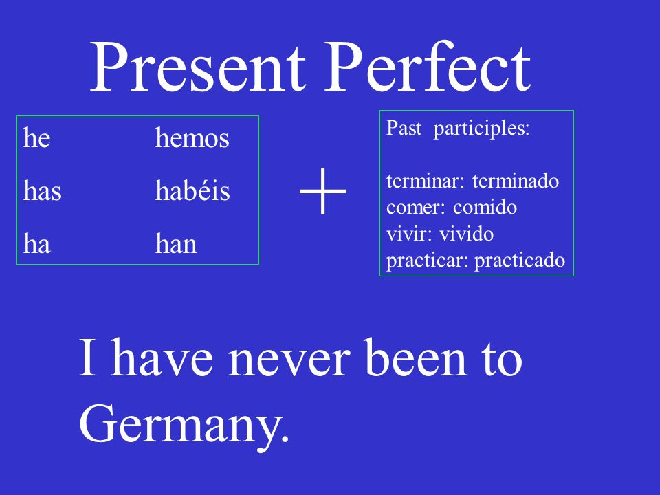 Present Perfect he hemos has habéis hahan Past participles: terminar: terminado comer: comido vivir: vivido practicar: practicado + I have never been to Germany.