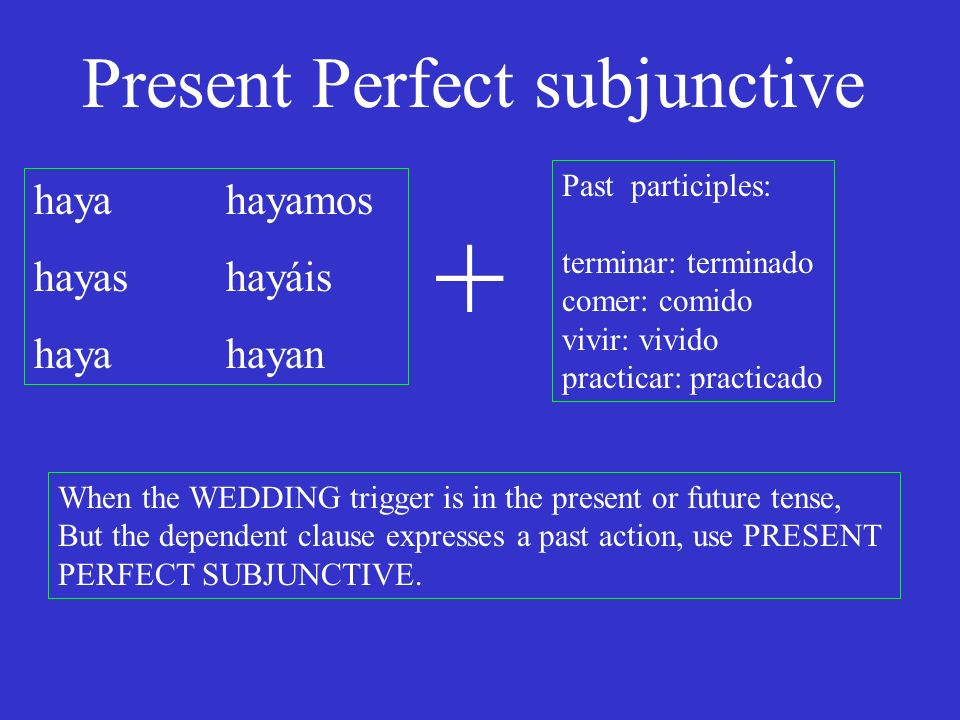 Present Perfect subjunctive haya hayamos hayas hayáis hayahayan Past participles: terminar: terminado comer: comido vivir: vivido practicar: practicado + When the WEDDING trigger is in the present or future tense, But the dependent clause expresses a past action, use PRESENT PERFECT SUBJUNCTIVE.