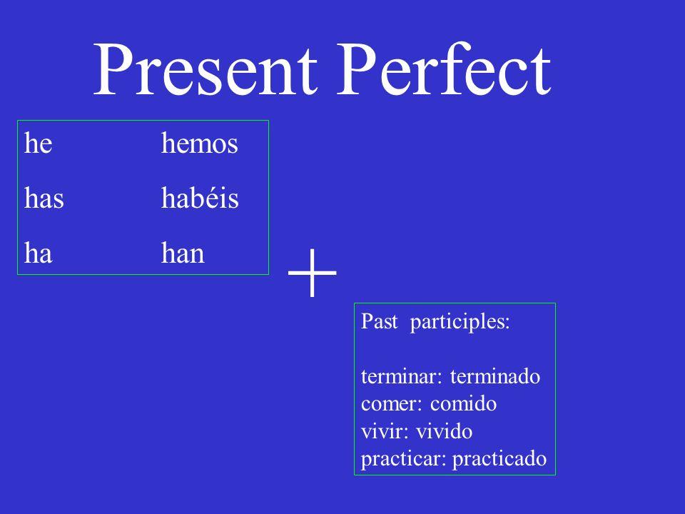 Present Perfect he hemos has habéis hahan Past participles: terminar: terminado comer: comido vivir: vivido practicar: practicado + I have already eaten: Ya he comido.