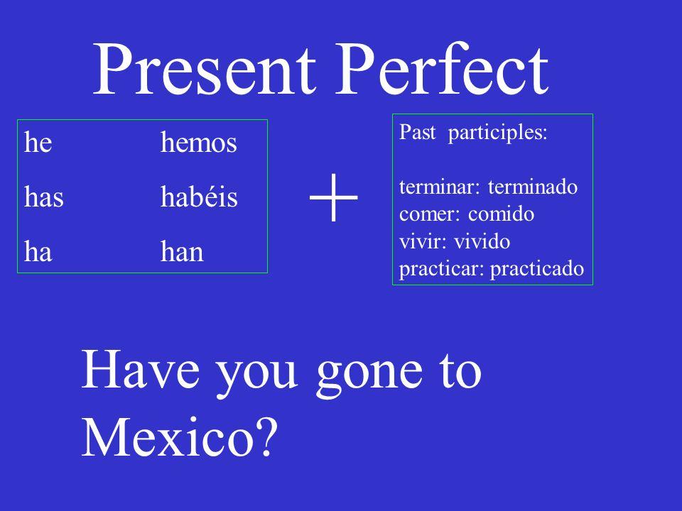 Present Perfect he hemos has habéis hahan Past participles: terminar: terminado comer: comido vivir: vivido practicar: practicado + We have always studied a lot.