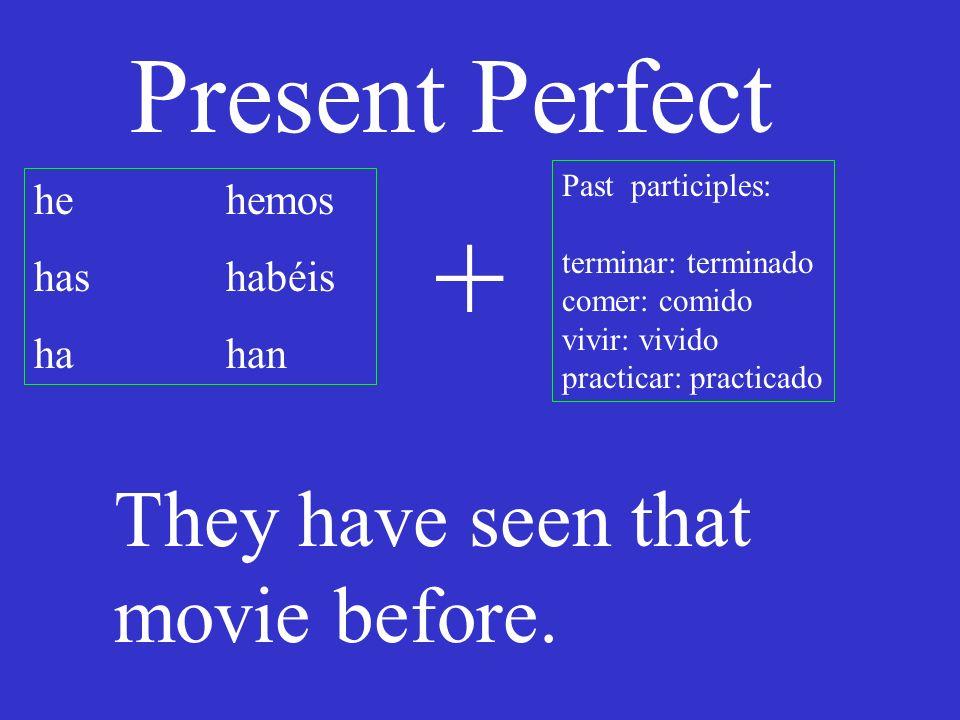 Present Perfect he hemos has habéis hahan Past participles: terminar: terminado comer: comido vivir: vivido practicar: practicado + What have you done?