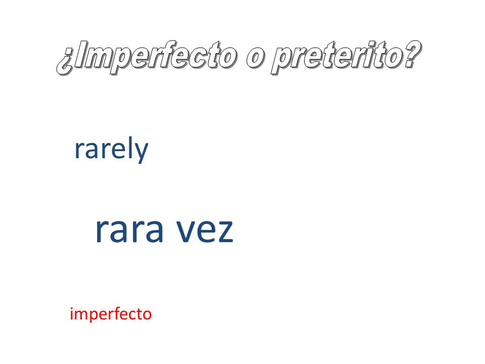 rarely rara vez imperfecto