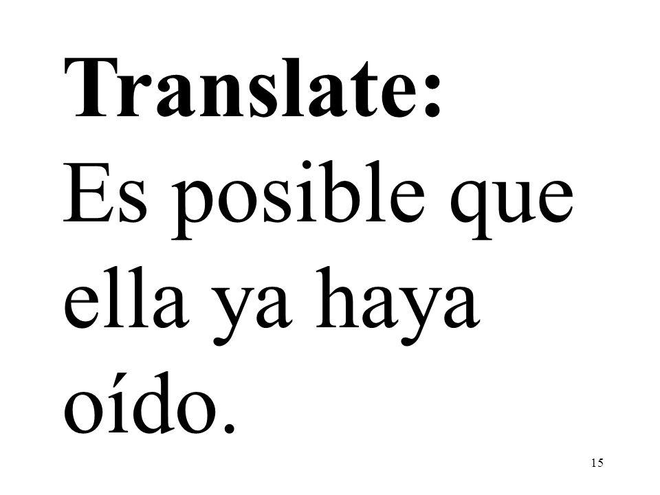 15 Translate: Es posible que ella ya haya oído.