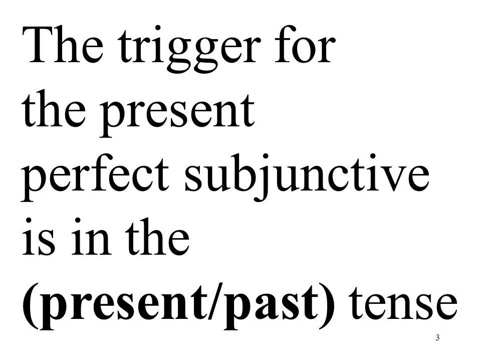 3 The trigger for the present perfect subjunctive is in the (present/past) tense