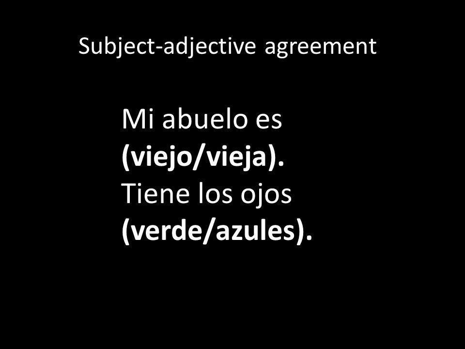 Subject-adjective agreement Mi tía tiene un Ella es tiene pelo (rubio/rubia.) nombre (bonito/bonita).