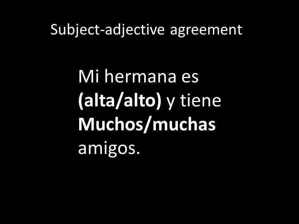 Subject-adjective agreement Mi hermana es (alta/alto) y tiene Muchos/muchas amigos.