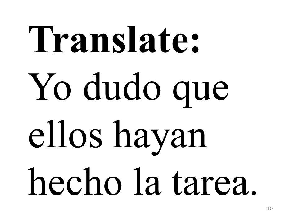 10 Translate: Yo dudo que ellos hayan hecho la tarea.