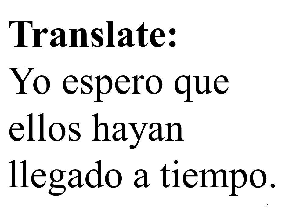 2 Translate: Yo espero que ellos hayan llegado a tiempo.