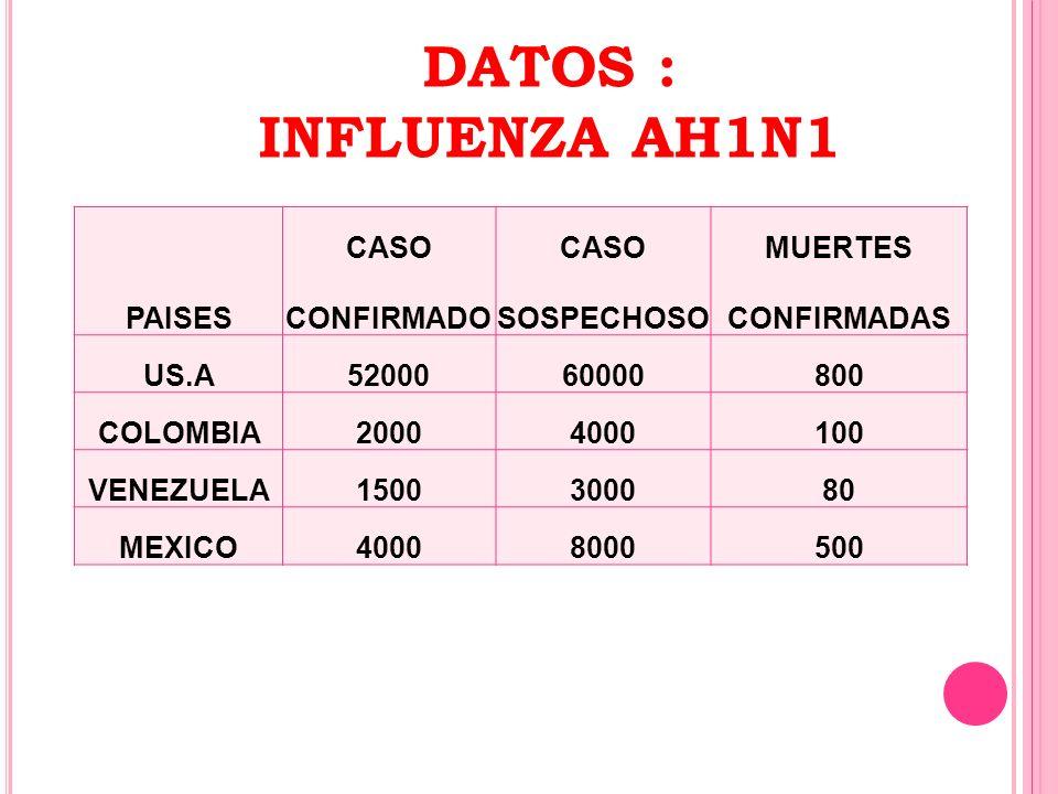 PAISES CASO CONFIRMADO CASO SOSPECHOSO MUERTES CONFIRMADAS US.A5200060000800 COLOMBIA20004000100 VENEZUELA1500300080 MEXICO40008000500 DATOS : INFLUEN