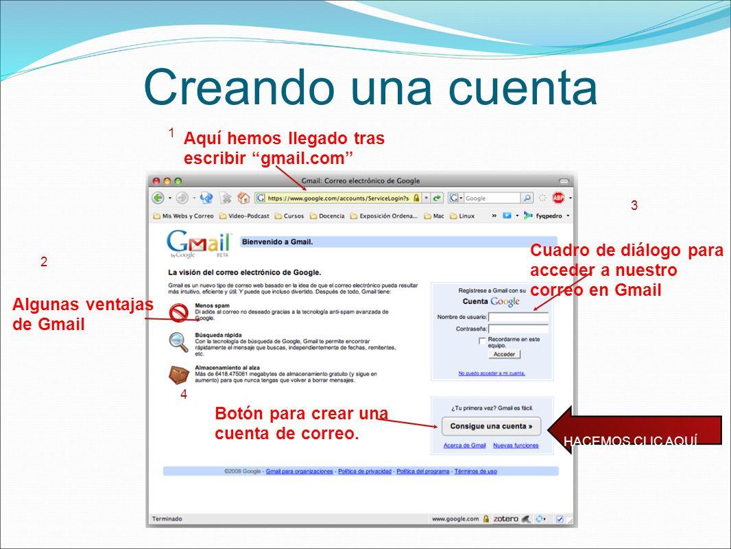 Creando una cuenta HACEMOS CLIC AQUÍ Aquí hemos llegado tras escribir gmail.com 1 Algunas ventajas de Gmail 2 Cuadro de diálogo para acceder a nuestro