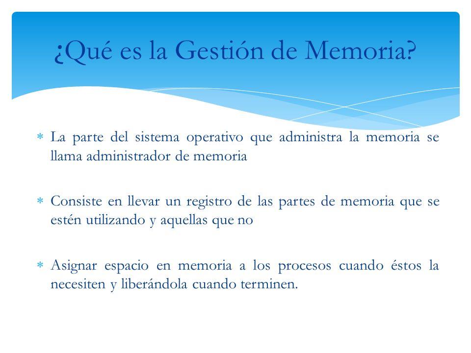 La parte del sistema operativo que administra la memoria se llama administrador de memoria Consiste en llevar un registro de las partes de memoria que