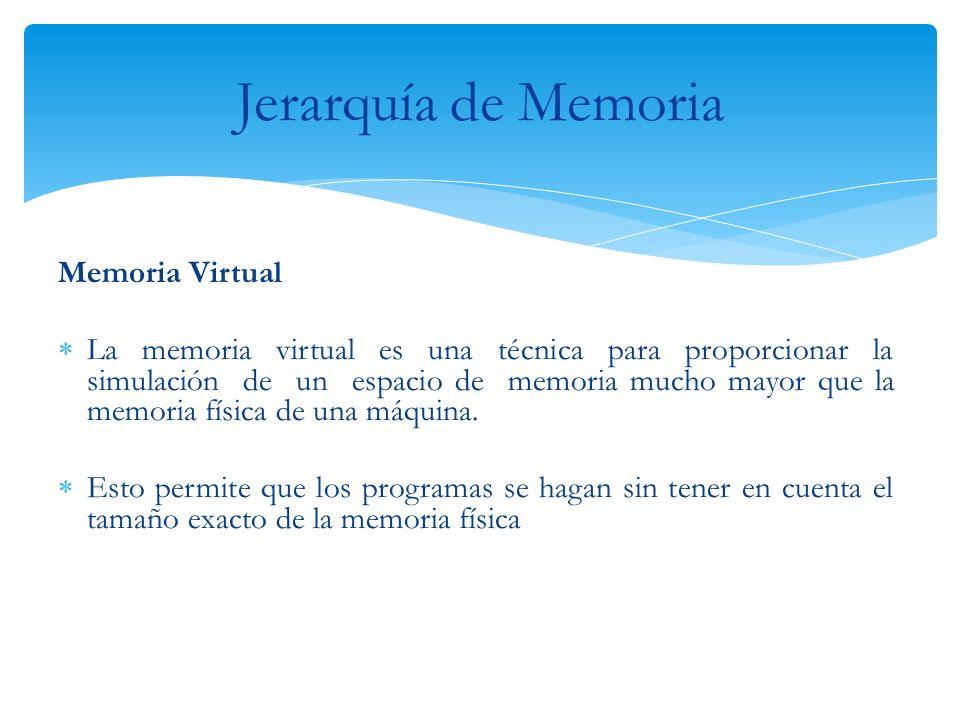 Memoria Virtual La memoria virtual es una técnica para proporcionar la simulación de un espacio de memoria mucho mayor que la memoria física de una má