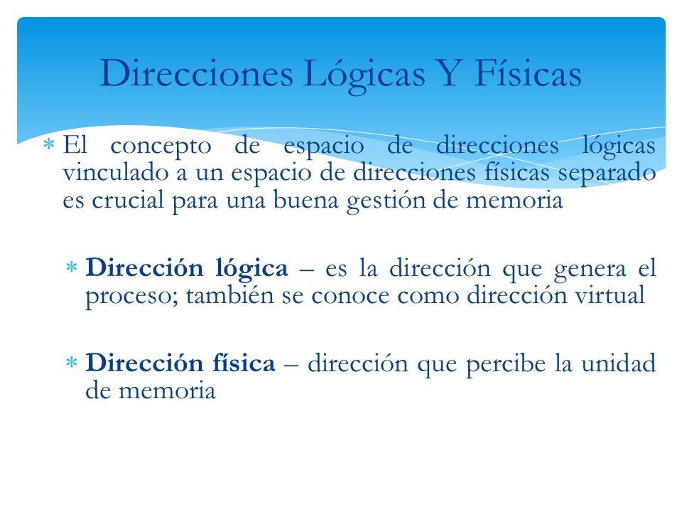 Las direcciones lógicas y físicas son iguales en los esquemas de vinculación en tiempo de compilación y de carga Difieren en el esquema de vinculación en tiempo de ejecución