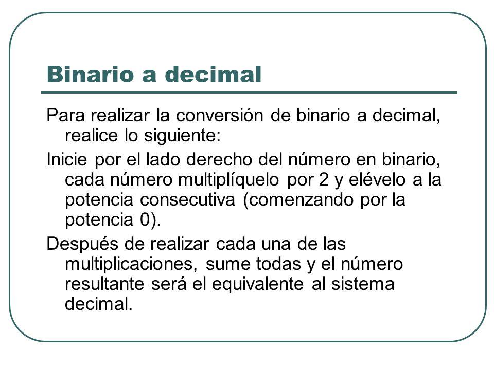 Binario a decimal Para realizar la conversión de binario a decimal, realice lo siguiente: Inicie por el lado derecho del número en binario, cada númer