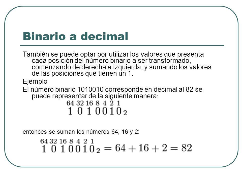 Binario a decimal También se puede optar por utilizar los valores que presenta cada posición del número binario a ser transformado, comenzando de dere