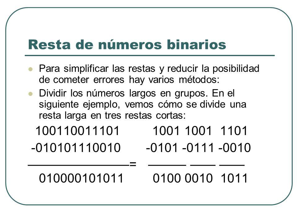 Resta de números binarios Para simplificar las restas y reducir la posibilidad de cometer errores hay varios métodos: Dividir los números largos en gr
