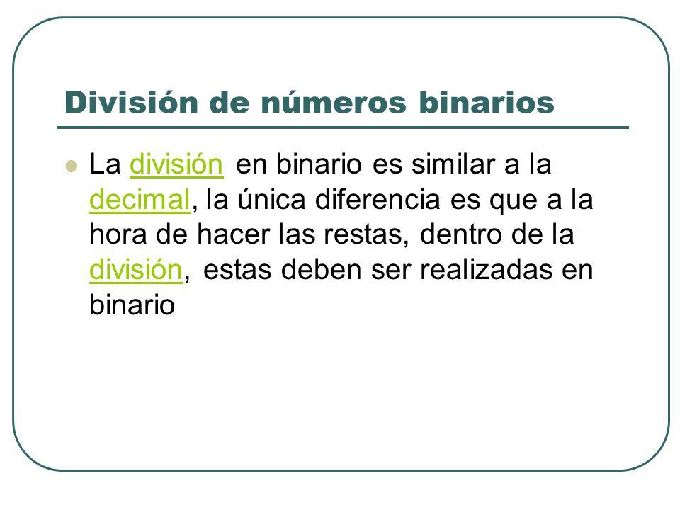 División de números binarios La división en binario es similar a la decimal, la única diferencia es que a la hora de hacer las restas, dentro de la di