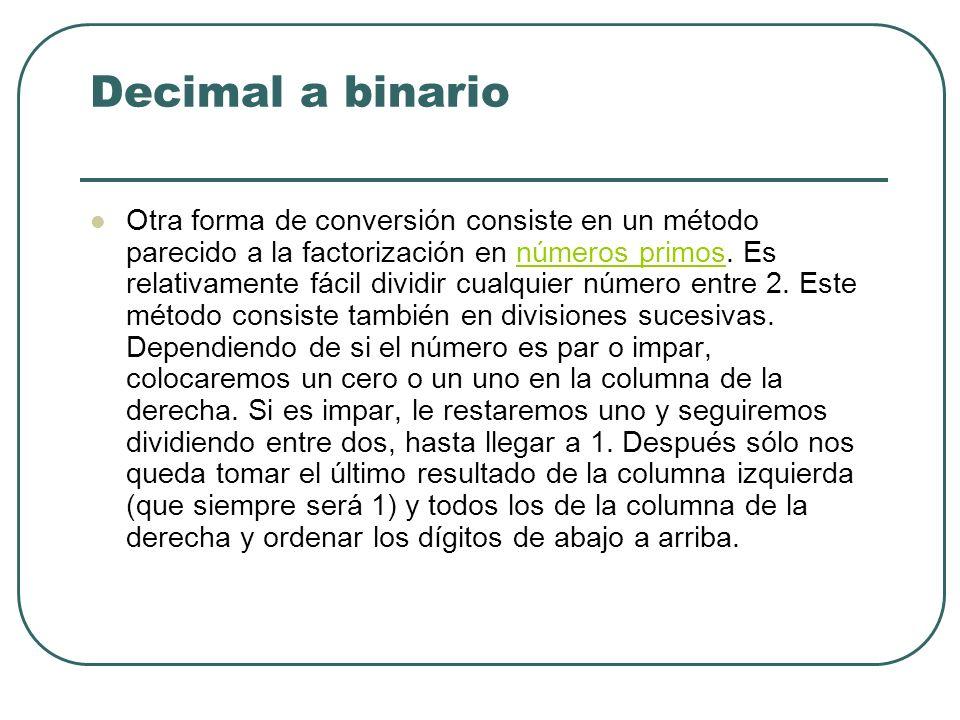 Decimal a binario Otra forma de conversión consiste en un método parecido a la factorización en números primos. Es relativamente fácil dividir cualqui