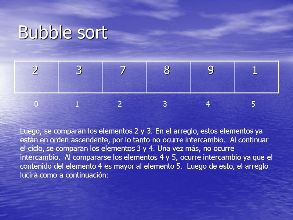 Bubble sort 2 3 7 8 9 1 0 1 2 3 4 5 Luego, se comparan los elementos 2 y 3. En el arreglo, estos elementos ya están en orden ascendente, por lo tanto