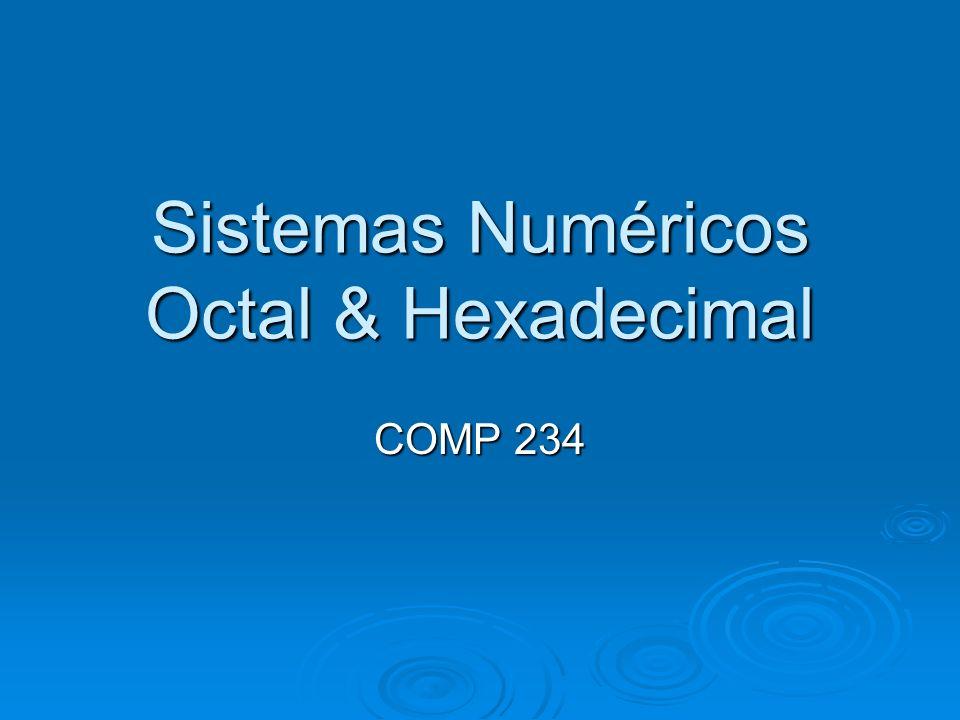 Sistemas Numéricos Octal & Hexadecimal COMP 234