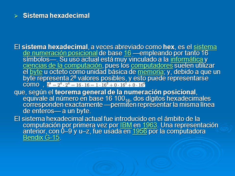 Sistema hexadecimal Sistema hexadecimal El sistema hexadecimal, a veces abreviado como hex, es el sistema de numeración posicional de base 16 empleand