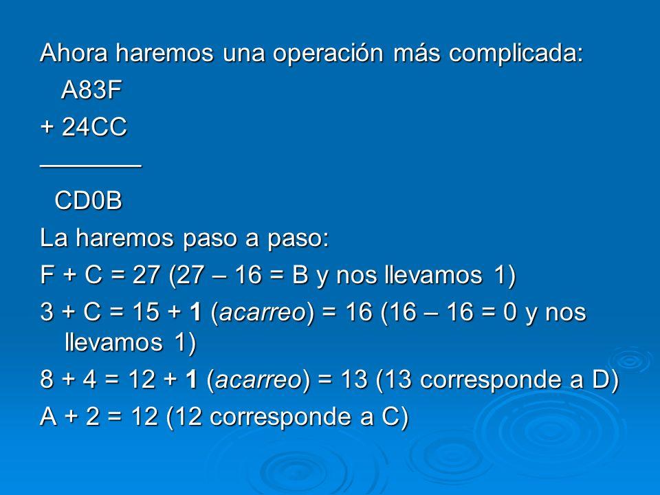 Ahora haremos una operación más complicada: A83F A83F + 24CC CD0B CD0B La haremos paso a paso: F + C = 27 (27 – 16 = B y nos llevamos 1) 3 + C = 15 +