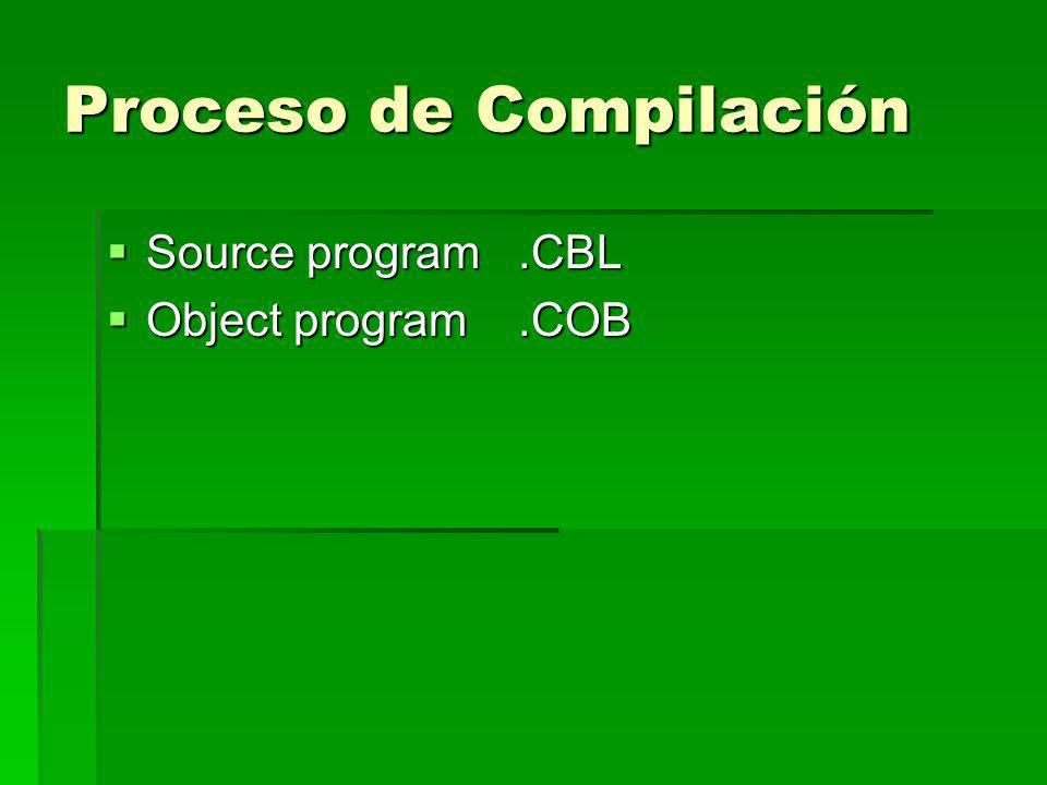 Proceso de Compilación Source program.CBL Source program.CBL Object program.COB Object program.COB