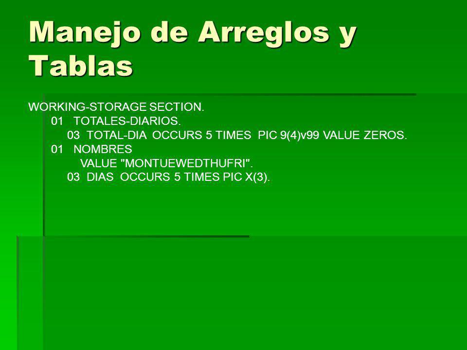 Manejo de Arreglos y Tablas WORKING-STORAGE SECTION. 01 TOTALES-DIARIOS. 03 TOTAL-DIA OCCURS 5 TIMES PIC 9(4)v99 VALUE ZEROS. 01 NOMBRES VALUE