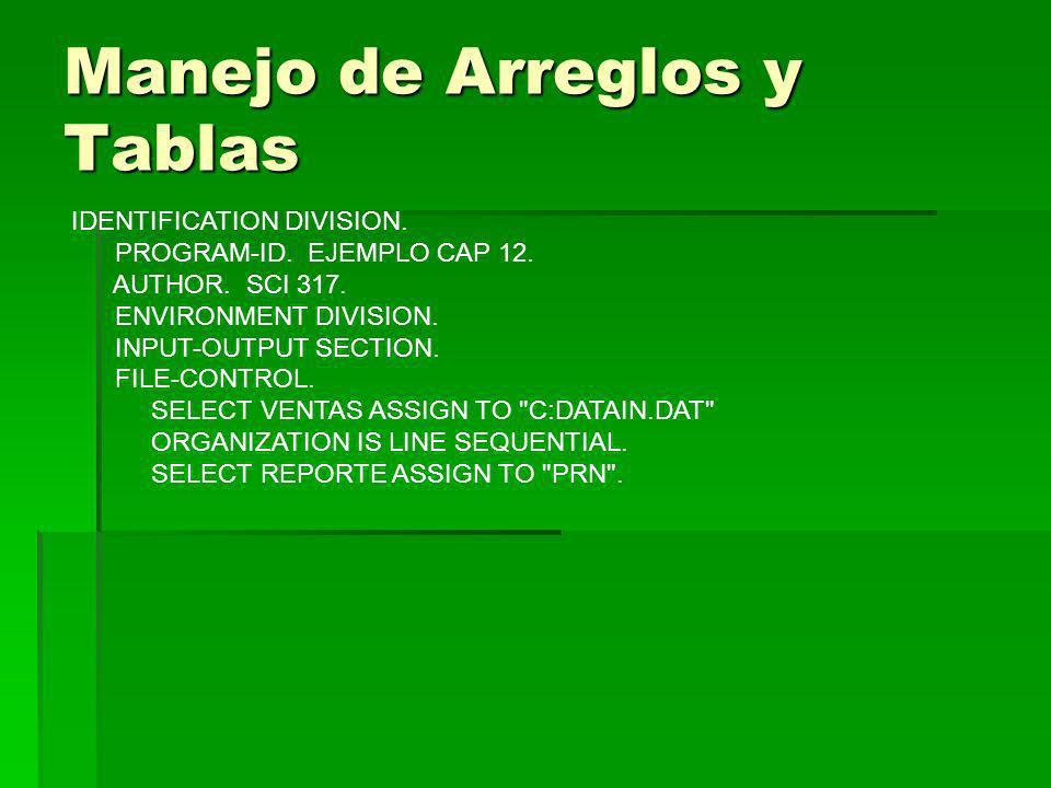 Manejo de Arreglos y Tablas IDENTIFICATION DIVISION. PROGRAM-ID. EJEMPLO CAP 12. AUTHOR. SCI 317. ENVIRONMENT DIVISION. INPUT-OUTPUT SECTION. FILE-CON