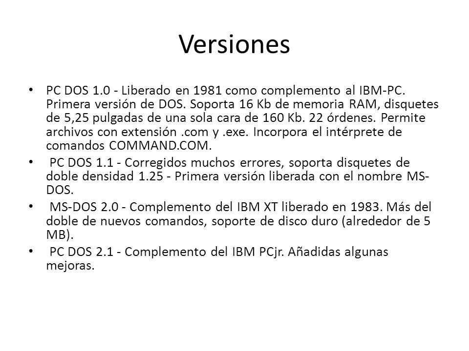 Versiones PC DOS 1.0 - Liberado en 1981 como complemento al IBM-PC. Primera versión de DOS. Soporta 16 Kb de memoria RAM, disquetes de 5,25 pulgadas d