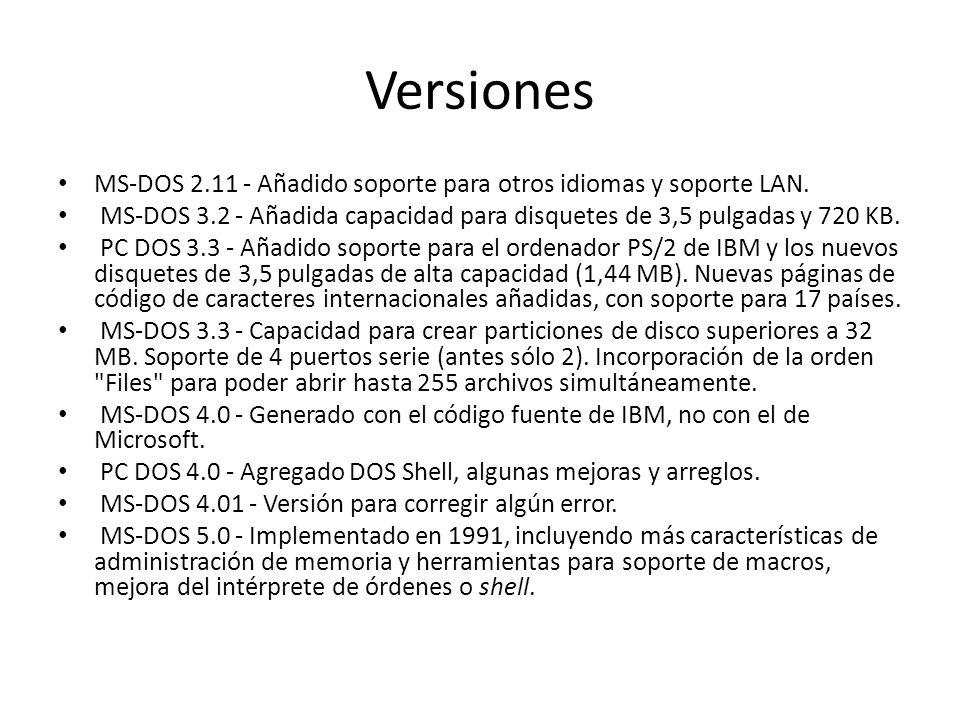 Versiones MS-DOS 2.11 - Añadido soporte para otros idiomas y soporte LAN. MS-DOS 3.2 - Añadida capacidad para disquetes de 3,5 pulgadas y 720 KB. PC D