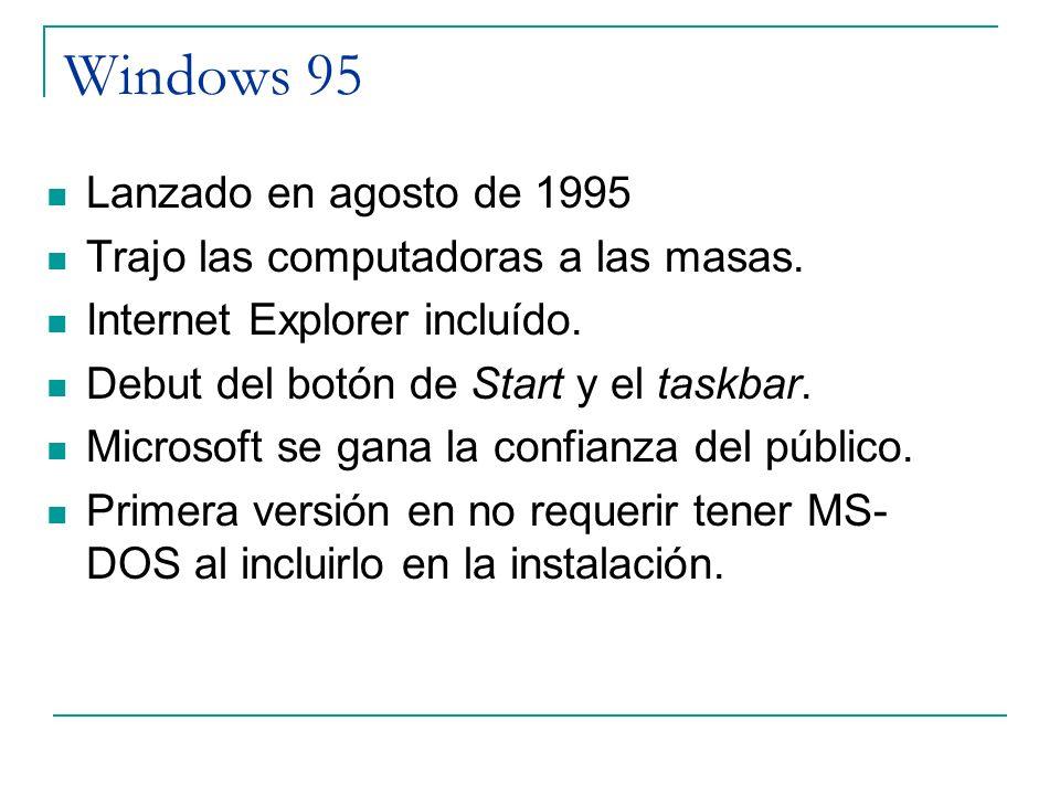 Windows 95 Lanzado en agosto de 1995 Trajo las computadoras a las masas. Internet Explorer incluído. Debut del botón de Start y el taskbar. Microsoft