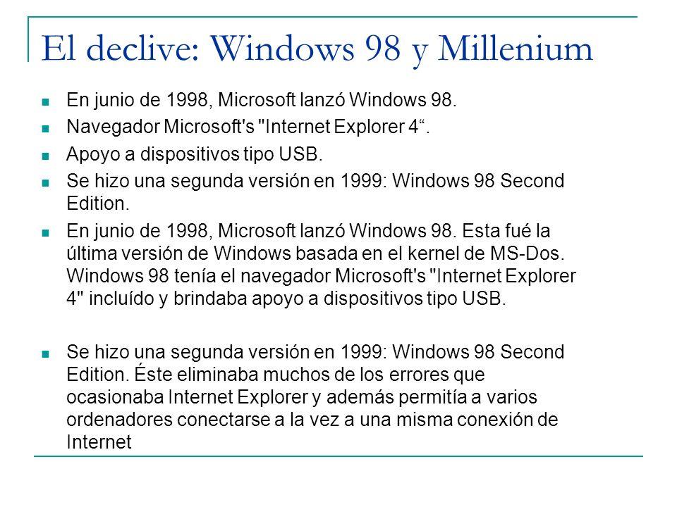 El declive: Windows 98 y Millenium En junio de 1998, Microsoft lanzó Windows 98. Navegador Microsoft's